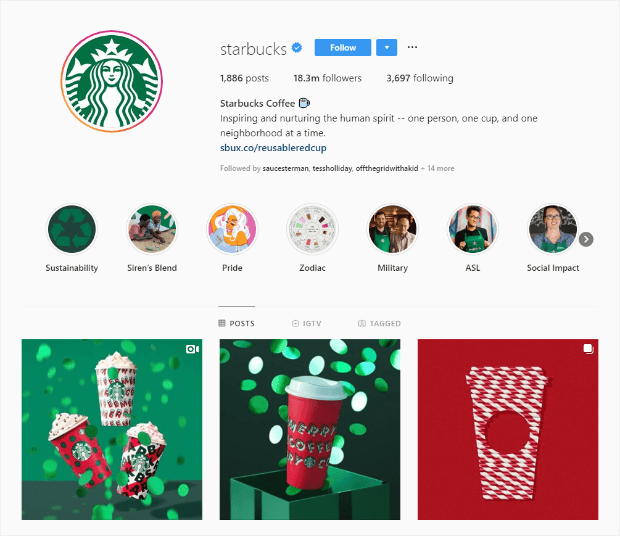 starbucks instagram holiday content