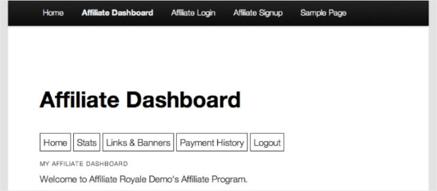 affiliate dashboard