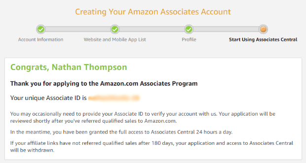 amazon affiliate program confirmation