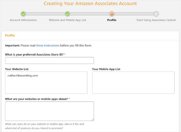 amazon affiliate program creating your profile
