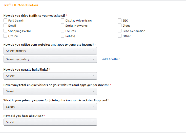 amazon affiliate program traffic and monetization