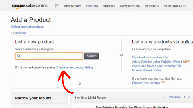 amazon seller central add a product