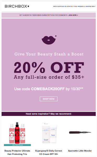 birchbox win back email example