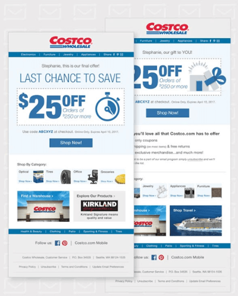 costco re-engagement email example