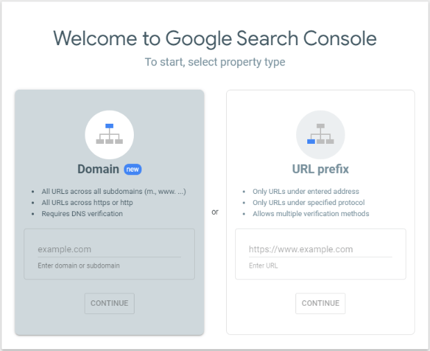 gsc choose domain or url