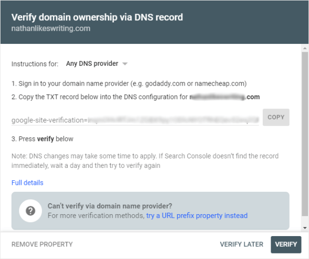 gsc verify domain