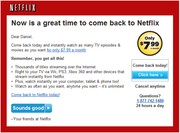 netflix re-engagement email