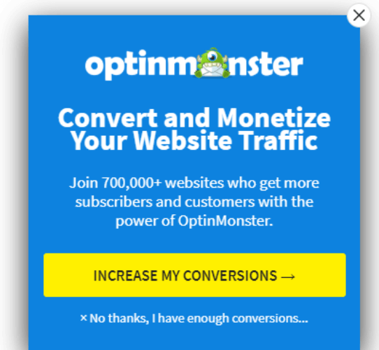 optinmonster scroll through popup for conversions