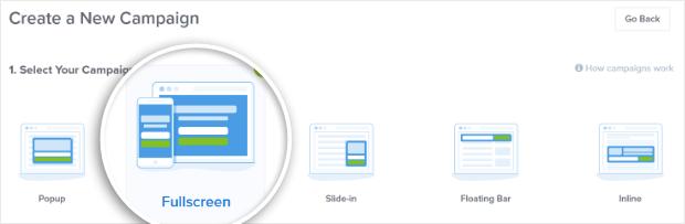 choose fullscreen campaign type
