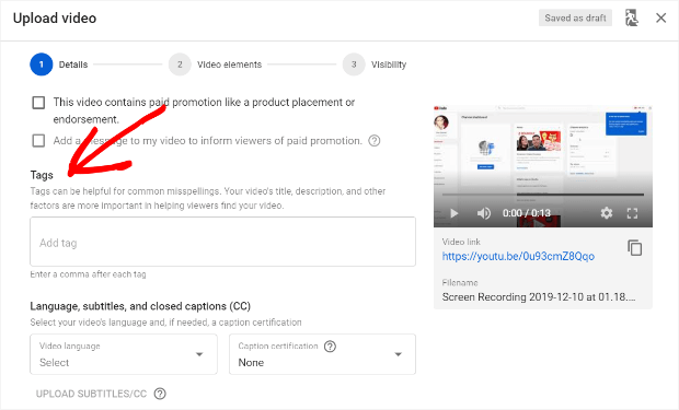 youtube add tags