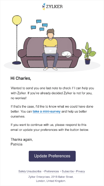 zylker win back email campaigns feedback