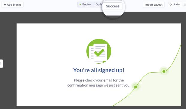 Click Success Page to edit 2 step Optin success min