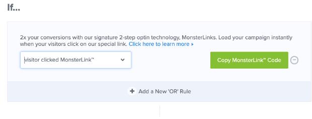 Copy Monster Link for 2-step optin