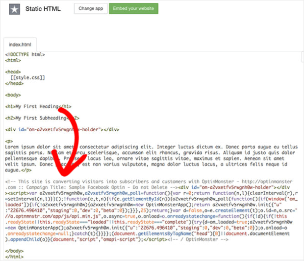 add campaign embed code to index