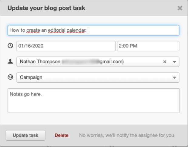 editorial calendar blog post task