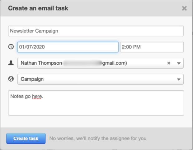 editorial calendar create email task