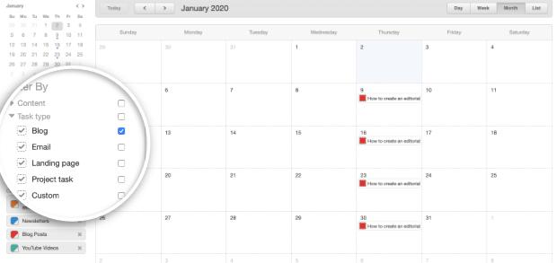 editorial calendar task type blog