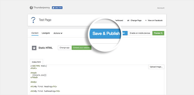 facebook tab save and publish