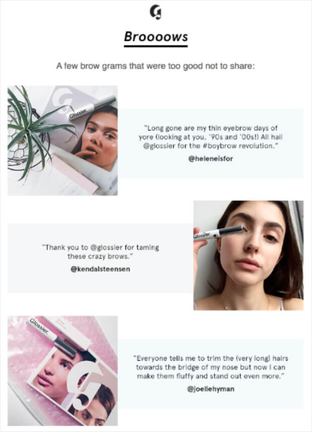 glossier-user-generated-content-email-idea