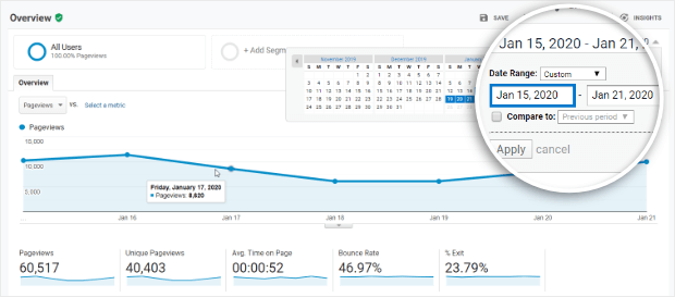 google analytics change report date