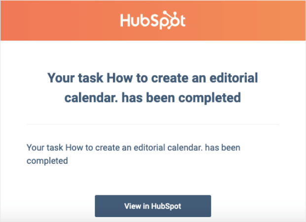 hubspot task completed email notification