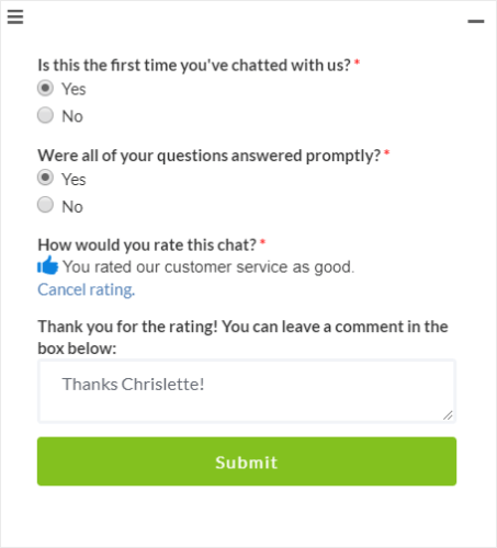 optinmonster live chat written feedback