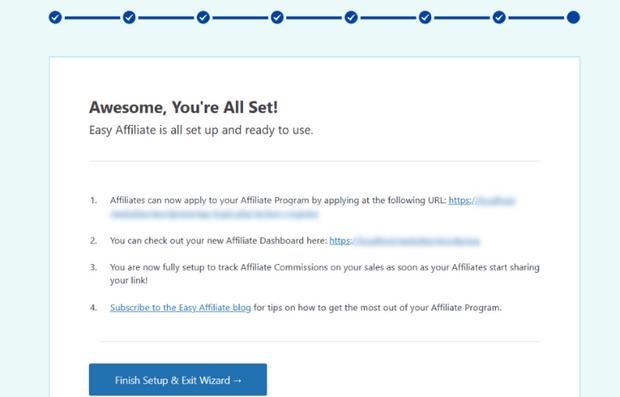 finish easy affiliate setup