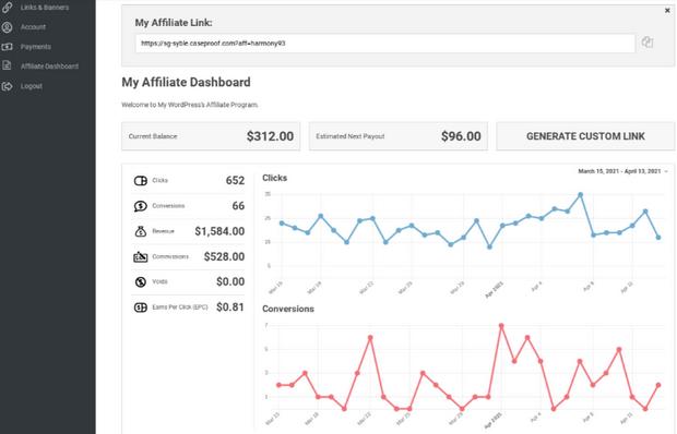 easy affiliate pre-styled affiliate dashboard