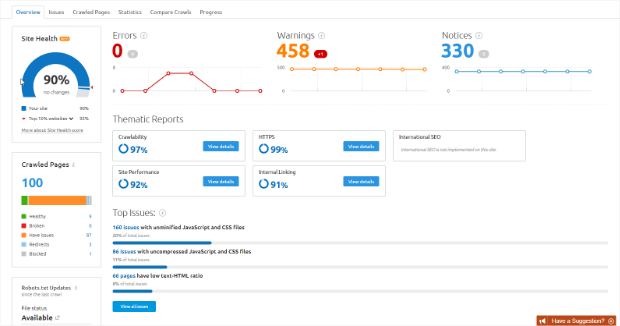 semrush site audit overview