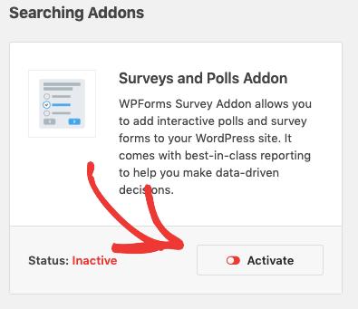 Activate Survey Form addon