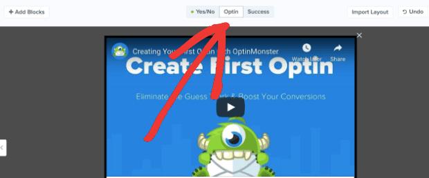 Click OPTIN in editor min