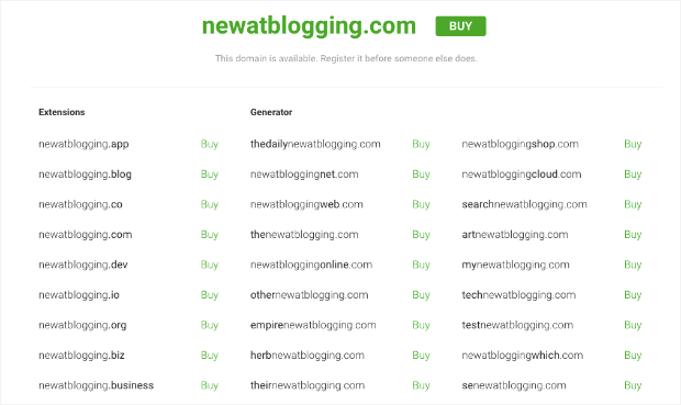 New at blogging site names