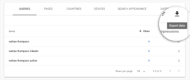 Export queries when people search for your site