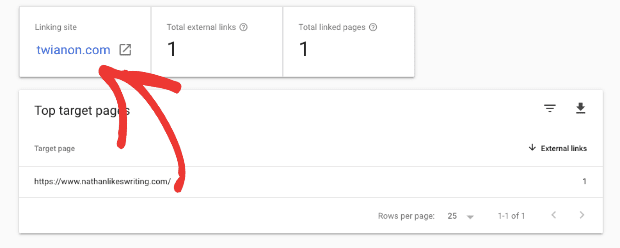 Google search console shows which pages other sites are linking to