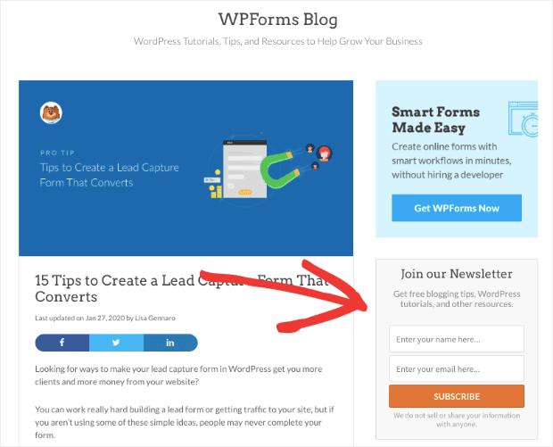 WPForm Sidebar Optin Form on blog homepage
