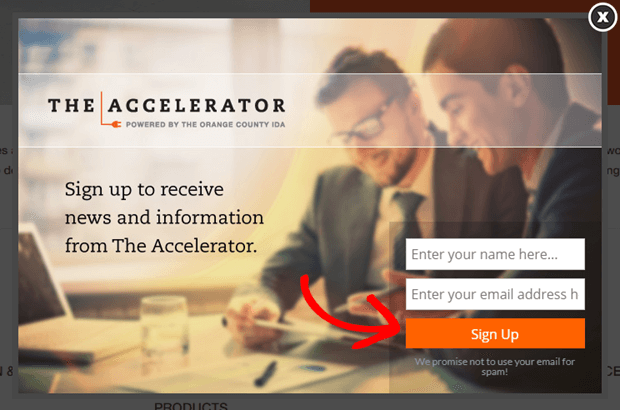 the accelerator uses orange buttons to draw attention to its call to action