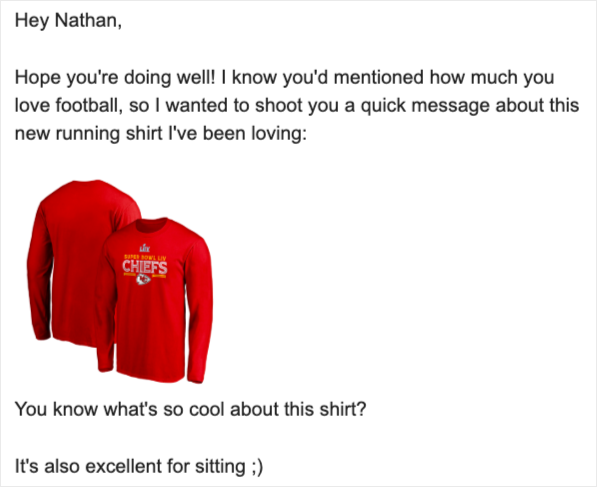 football shirt affiliate email example
