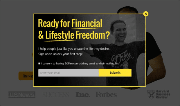 get higher quality leads good popup example