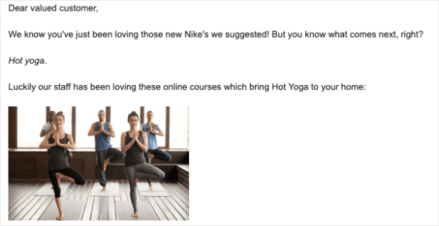 hot yoga email off topic example