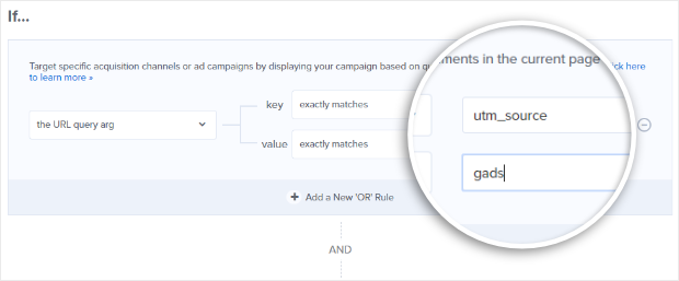 to target visitors from a specific ppc ad source in optinmonster, add a url query argument