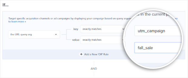 to target visitors from a specific ppc ad campaign in optinmonster, add a url query argument
