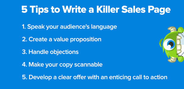 5 tips to writing a killer sales page