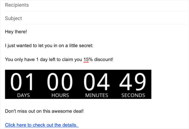 Email countdown timer example in Gmail