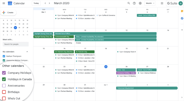 Google Calendar sharing calendar for remote teams
