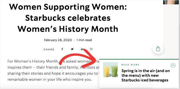 Starbucks sideline popup