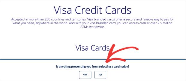 Visa Credit Card Application popup