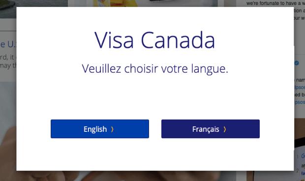 Visa Popup for Language