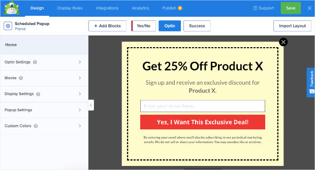 preview of coupon popup template