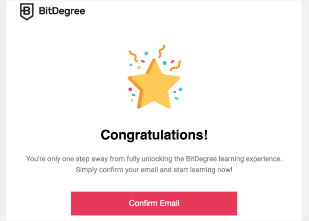 transactional email example subscription confirmation email from BitDegree min