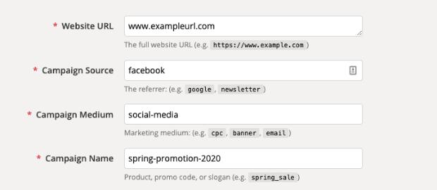 Campaign URL Builder no hyphens or spaces min
